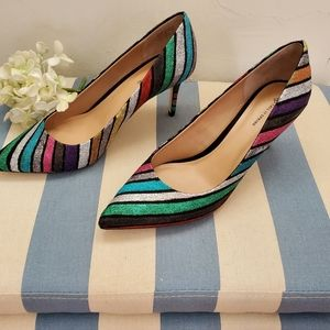 New Heels shoes multicolor  shiny